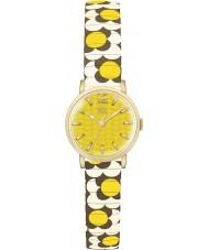 Orla Kiely OK4044 Ladies pop flor mostarda creme de castanha expansão relógio pulseira