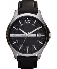 Armani Exchange AX2101 couro preto relógio vestido de alça dos homens