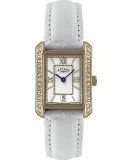 Rotary LS02652-41 Senhoras relógios de couro branco relógio de pulseira