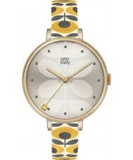 Orla Kiely OK2136 Ladies hera couro amarelo pulseira de relógio