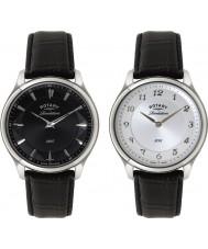 Rotary GS02965-04-22 Mens revelação pulseira de couro preta relógio com mostrador reversível