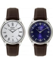Rotary GS02965-05-21 Mens revelação relógio com pulseira de couro marrom com discagem reversível
