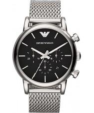 Emporio Armani AR1811 Mens clássico cronógrafo preto prata pulseira de malha de relógio