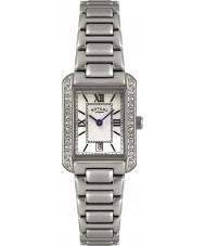 Rotary LB02650-41 Senhoras relógios de cristal moldura do relógio em aço branco