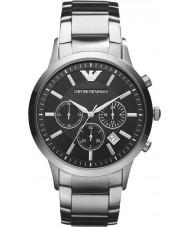 Emporio Armani AR2434 Mens clássico cronógrafo relógio de prata preto