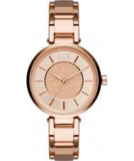 Armani Exchange AX5317 Senhoras urbanas subiu banhado a ouro pulseira de relógio