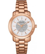 Bulova 97L147 Ladies subiu relógio de ouro cristal