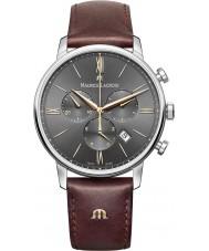 Maurice Lacroix EL1098-SS001-311-1 Mens Eliros couro marrom relógio de pulseira de cronógrafo