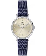 Orla Kiely OK2025 Ladies patricia impressão haste relógio com pulseira de couro da marinha