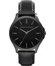 Armani Exchange AX2148 vestido de couro preto relógio pulseira masculina
