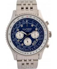 Krug-Baumen 600304DSA Mens air traveler diamante relógio automático