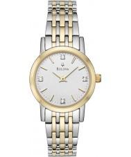 Bulova 98S115 Ladies diamante dois tons pulseira de aço relógio