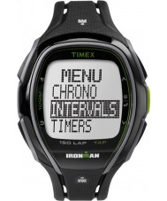 Timex TW5K96400 150 voltas tamanho completo Ironman cinta de resina preto lustroso relógio cronógrafo