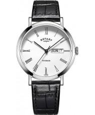 Rotary GS05300-01 relógios Mens aço Windsor couro preto relógio pulseira